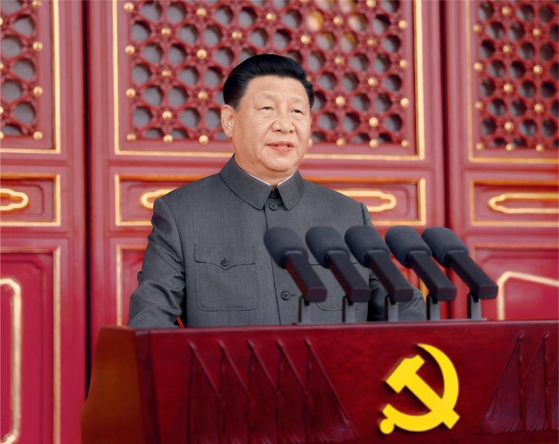 2021年7月1日,庆祝中国共产党成立100周年大会在北京天安门广场隆重举行。中共中央总书记、国家主席、中央军委主席习近平发表重要讲话。 新华社记者 鞠鹏/摄